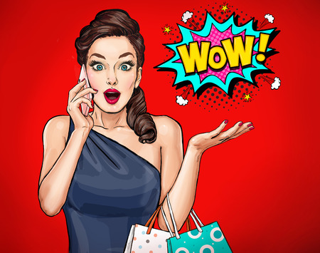 Surprised young sexy woman with open mouth.Surprised girl. Comic woman. Wow. Advertising poster. Pop Art girl. Woman with smart-phone. Banco de Imagens