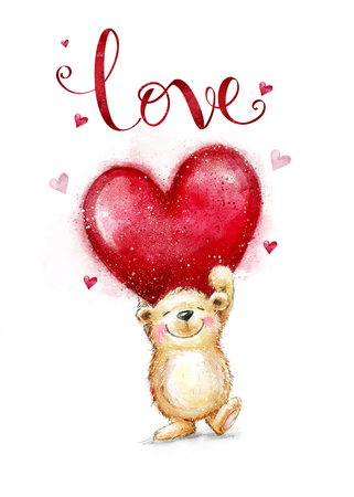 Cute Teddy Bear in love with big red heart. Valentines day postcard.