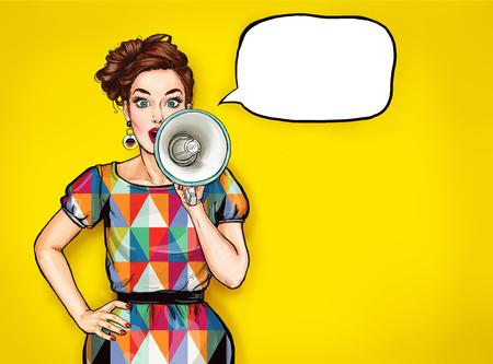 Pop-Art-Mädchen mit Megaphon. Frau mit Lautsprecher. Mädchen, das Rabatt ankündigt. Einkaufszeit. Protest, Feminismus, Frauenrechte, Frauenprotest, Frauenpower. Sonderangebot, Brünette, Pop, Mode, sexy