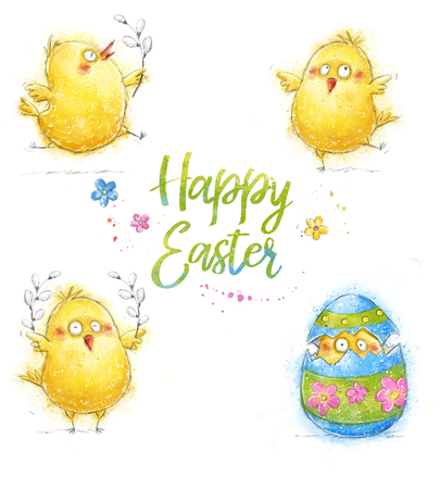 Happy easter greeting card. Cute chicken with text in stylish colors. Animal, comic chicken, easter theme, easter party, poult, pascua, spring, poster, church, happy, flowers, lovely, cute, decoration