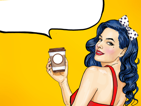 Smiling Pop Art woman with coffee cup. Advertising poster or party with a girl in a comic style.