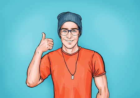 Smiling hipster man in glasses with Like sign. Advertising design with a person that guarantees the quality of work or services. Male in orange t-shirt and hat shows thumb up. Imagens