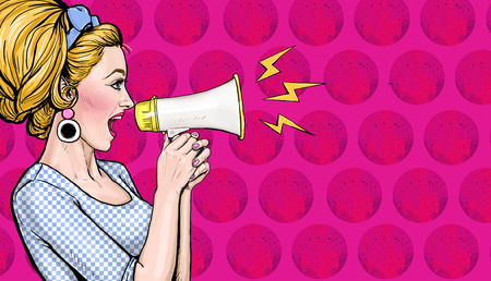 Pop art girl with megaphone. Woman with loudspeaker. Advertising poster with lady announcing.