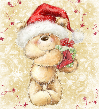 Teddy bear in Santa hat with gift and letter. Merry Christmas greeting card design.