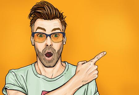Erstaunlicher modischer Typ in Brille mit offenem Mund, starrt beiseite, zeigt etwas Seltsames und Unerwartetes. Emotionen und Werbung. Überraschte Männer. Standard-Bild
