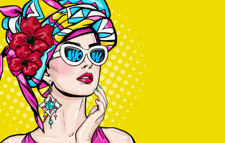 Pop art woman with wow face in glasses holding hand near her cheeks. Advertising poster of sale. Stok Fotoğraf