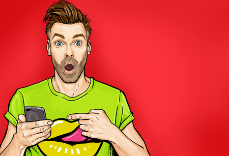 Attractive amazed young man pointing comic style Pop art surprised guy holding smartphone.