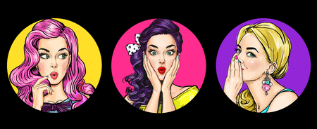 Set of amazed women in pop art style. Gossip girls with wow face. Advertising poster of sexy club girls. Stok Fotoğraf - 114638824