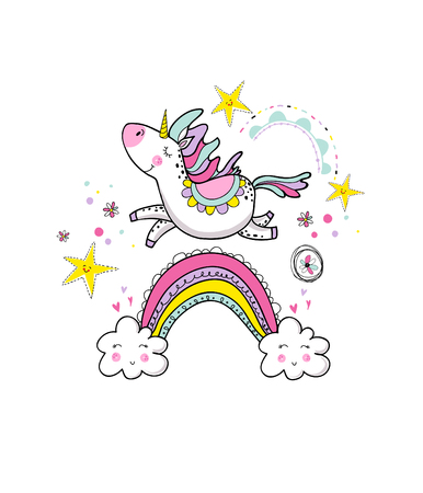 Cute magical unicorn walking on the rainbow, doodle nursery art. Vector design isolated on white background. Print for t-shirt or sticker. Romantic hand drawing illustration for children