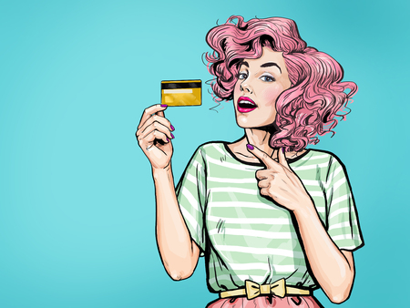 Amazing woman showing credit card.