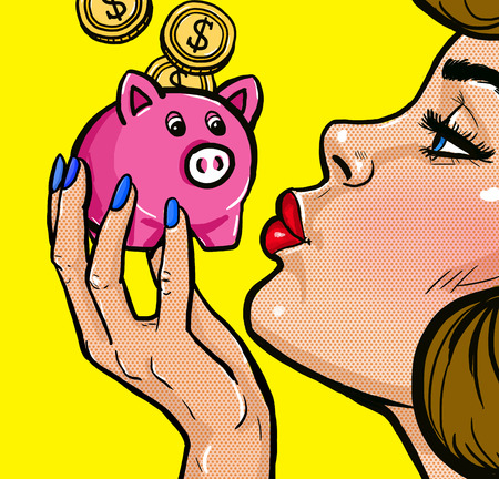 Woman kissing a piggy bank in Pop Art style.