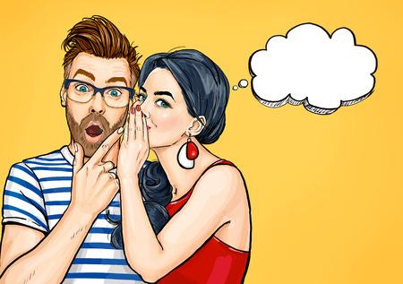 Klatsch paar. Überraschter Mann und Frau, die über etwas sprechen. Pop-Art-Leute-Gespräch.
