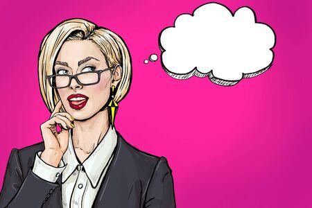 Pensando en la mujer de negocios joven con la boca abierta mirando hacia arriba en la burbuja vacía. Sonrisa de la muchacha del arte pop se piensa y sostiene la mano cerca de la cara