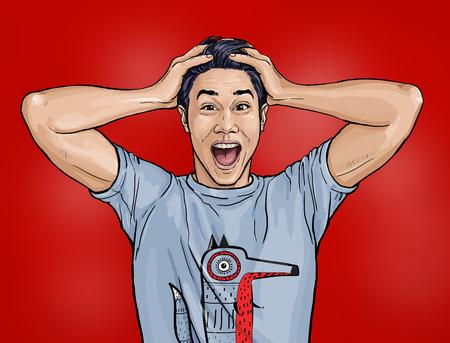 Porträt eines erstaunten asiatischen Mannes sagt Schockierter Kerl mit überraschtem Ausdruck. Emotionen Konzept. Glückliche Männer. Technologiedesign Standard-Bild