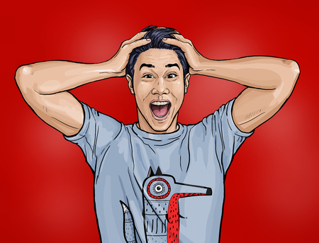 Portrait of amazed asian man says Shocked guy with surprised expression. Emotions concept.Happy men.Technology design