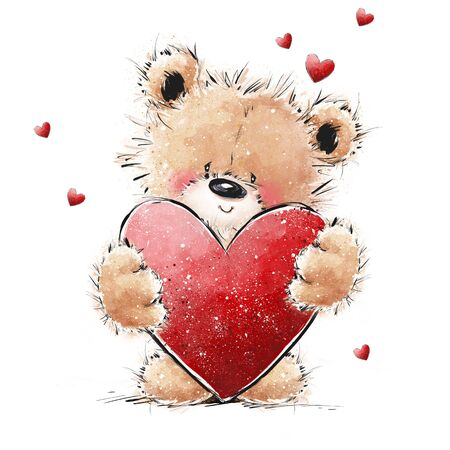 Cute Teddy Bear in love with big red heart. Valentines or Mothers day postcard. Archivio Fotografico - 137785451