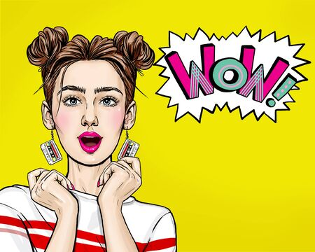 Pop Art woman with wow face holding hands near her cheeks. Advertising poster of sale or discount with club girl.