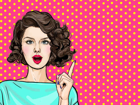 Surprised young woman with open mouth and pointing finger up. Beautiful girl with curly hair pointing presenting your product. Expressive facial expressions