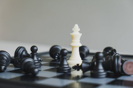 Chess pieces on board with white background, driven to success Business Strategy Stok Fotoğraf