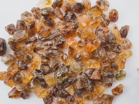 Yellow citrine nature Mineral Gemstones rough  crystals healing group on white background.
