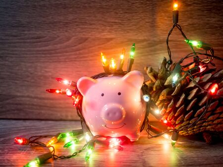 Pink piggy bank and pinecone with Party lights, Enjoy savings for the holidays concept. Imagens