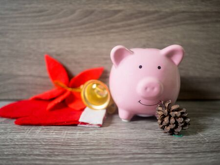pink piggy bank and pinecone with x'mas theme, Enjoy savings for the holidays concept.