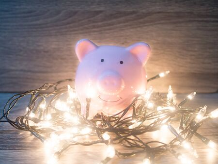 Pink piggy bank with Party lights, Enjoy savings for the holidays concept.