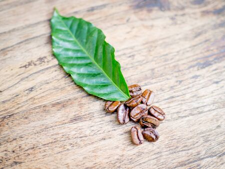 Coffee beans on the wooden table, ready to give freshness and alongside the businessman.
