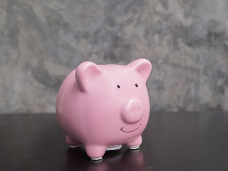pink piggy bank on black cement wall background, Saving money for future plan and retirement fund concept.
