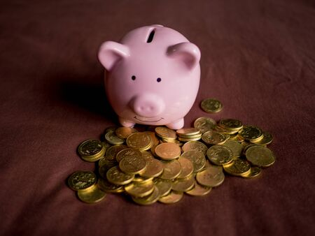 pink piggy bank with coins pile on red background, Saving money for future plan and retirement fund concept. Zdjęcie Seryjne