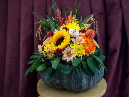 Many Vegetables, fruits and flowers are Decorated for Happy Thanksgiving Day. Stock Photo