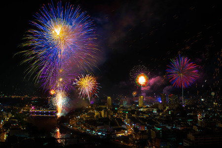 works: New year fire works Stock Photo