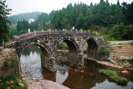 the ancient pass: ancient stone bridge in Jianmen Pass,China Editorial