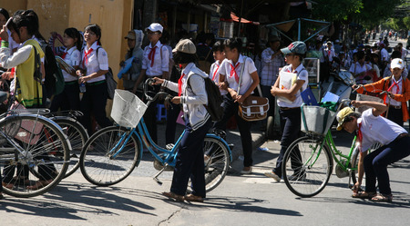 hoi an: the students in hoi an ancient town,vietnam Editorial