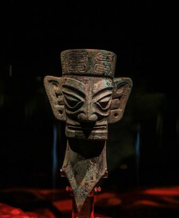 artifact: chinese artifact in sanxingdui museum,sichuan,china
