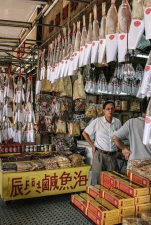 fish shop: Dried fish shop in macao Editoriali