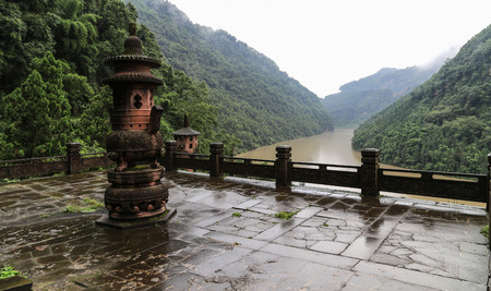 grooves: the stone tower in fish shoal grooves, sichuan, china Stock Photo