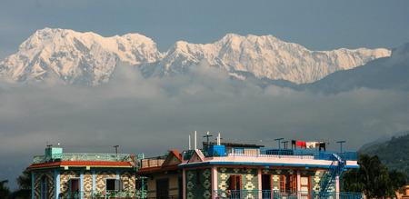 pokhara: the snow mountain in pokhara,nepal