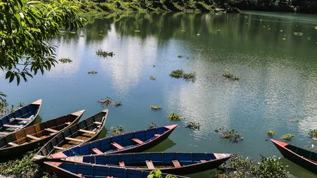 pokhara: the landscape of the lake in pokhara,nepal