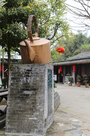 teahouse: Sculpture at the teahouse in Chengdu, China Editorial