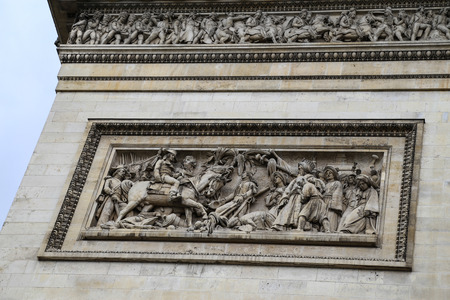triumphal: Sculpture on the Triumphal Arch in Paris, France Editorial