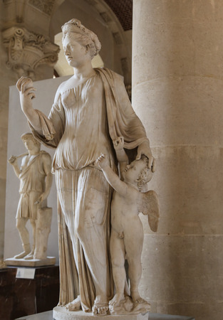 plaster of paris: Sculptures in the Le Louvre Museum, Paris, France