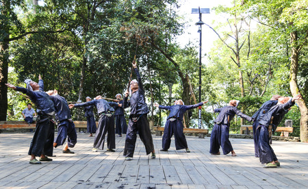 miao: men performance in basha miao village guinzhou,china Editorial