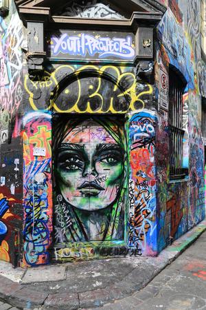 melbourne australia: graffiti street in melbourne,australia