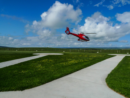 heliport: the helicopter in heliport,campbell national park,australia