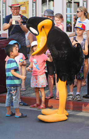 donald: boy and donald duck in warner bros movie world,gold coast,australia