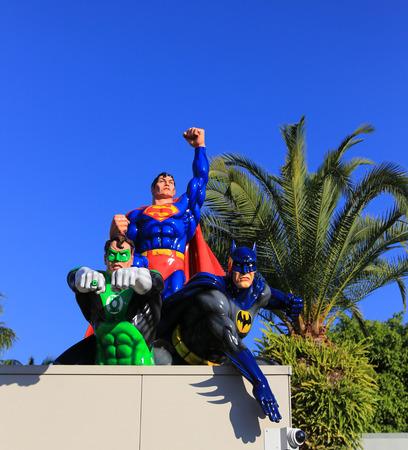 bros: the statues in warner bros movie world,gold coast,australia