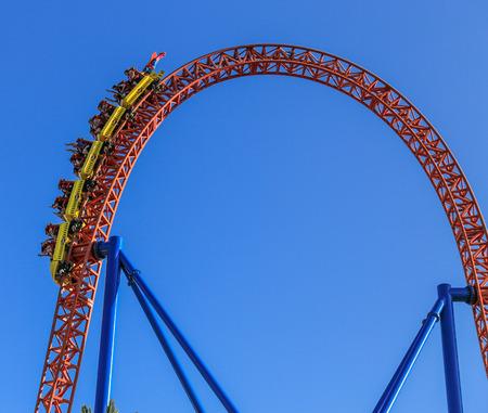 gold coast australia: roller coaster in warner bros movie world,gold coast,australia