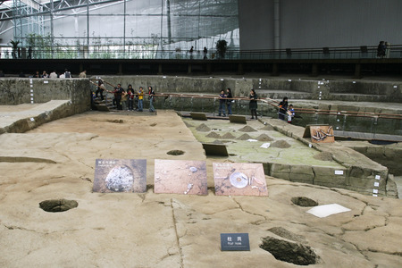 relics: unearthed relics on show in the museum,chengdu,china