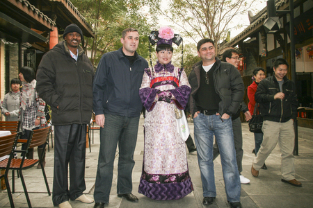 foreigner: woman model with foreigner in kuanzhai alley,chengdu,china